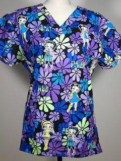 NEW Nursing Scrubs Top Betty Boop Retro Groovy A GO GO Purple MEDIUM