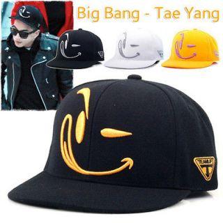 Fash ion Smile Flat Bill Caps Hip Hop Kpop Big Bang Tae Yang Ballcap