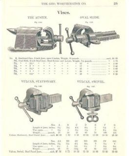 1902 Parker Bench Vise Antique Catalog Ad