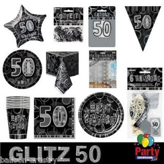 Black Silver 50th Birthday Party Items Decorations Under One Listing