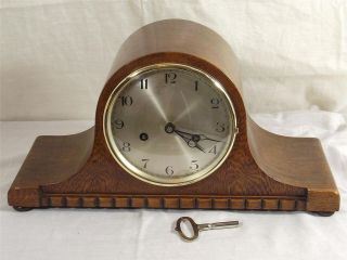 Day Oak Cased Tambour Mantel Clock with Bim Bam Strike by HAC C1900