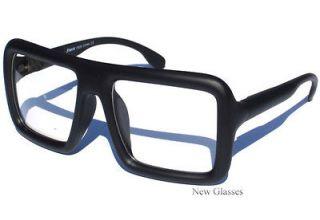 BIG LARGE Flat Top Thick Bold Black Clear Lens Glasses Square Frame