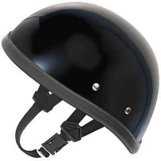 HI GLOSS BLACK Eagle Daytona NOVELTY Motorcycle Half Helmet LOW
