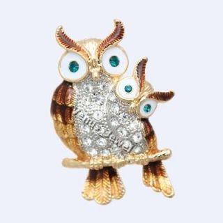 Enamel Bird Night Owl Mother & Baby Rhinestone Crystal Brooch Pin B713