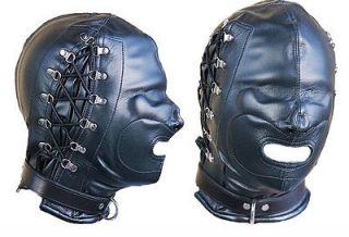 BLACK LEATHER DOG MASK leder hood SLAVE KINK CUIR HALLOWEEN ROLEPLAY