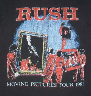 vintage 80s RUSH MOVING PICTURES WORLD TOUR t shirt S guitar rock