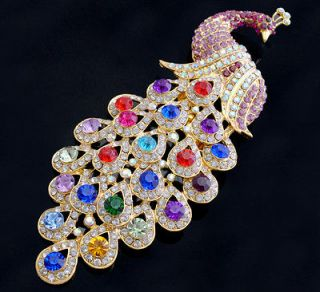 Swarovski Crystal Peacock Brooch 4colors Wedding Accessories XZ003