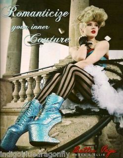 Bettie Page Lady Gaga 5.5 Heel Less Glitter Boots Turquoise Blue