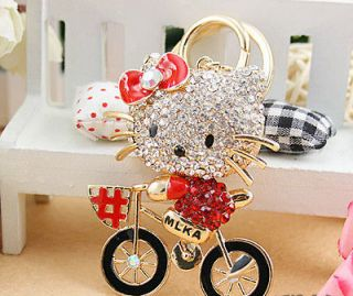 Bicycle Hello Kitty Cute Cat Swarovski Crystal Charm Pendant Key Bag