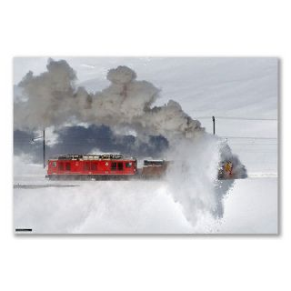 A3+ small poster: ROTARY SNOW PLOW BERNINA LINE LAGO BIANCO