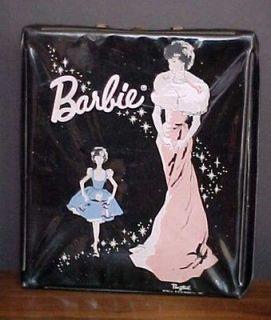 1962 VINTAGE BARBIE DOLL CARRY CASE  PONYTAIL BLACK VINYL