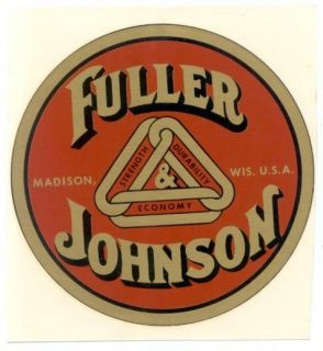 Hit & Miss Gas Engine FULLER JOHNSON CO. MADISON WISCONSIN ADVERTISING