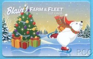 BLAINS FARM & FLEET Ice Skating Polar Bear 2011 Gift Card