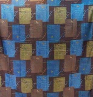 SERENE Fabric Shower Curtain Faith Love Peace Joy Blue Brown Christmas