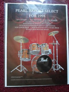 1998 Print Ad Pearl Export Select Series Drum Set