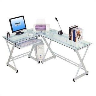 Techni Mobili Tempered Glass L Computer Desk RTA 3802 GLS