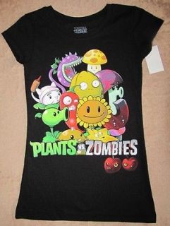 PLANTS vs. ZOMBIES Black Girls Fitted S/S Tee T Shirt sz 7/8
