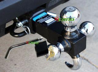 Solid Shank Triple Tri Ball + Hook Trailer Tow Hitch Bar Mount W/Pin