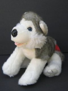 & White HUSKY WOLF DOG Plush BUILD A BEAR Soft Stuffed Animal B155