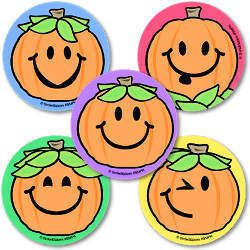 SMILEY FACE JACK O LANTERN S 15 LARGE STICKERS HALLOWEEN