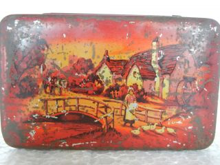 Vintage Blue Bird Toffee Ad Tin Box, Nice Litho Print of Village Scene