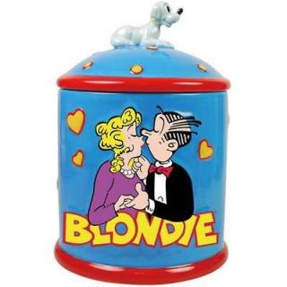Blondie and Dagwood Bumstead Kissing Ceramic Cookie Jar with Dog