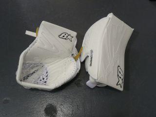 Sub Zero All White F/RT Sr Ice Hockey Goalie Catcher & Blocker Set