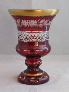 VINTAGE BOHEMIAN ART RUBY CRANBERRY RED CUT FLOWERS CRYSTAL URN VASE