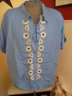 Bob Mackie Embr Camp Shirt & Tank Set Blue 3X