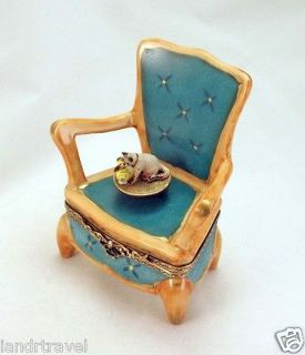 PLAYS MUSIC FRENCH LIMOGES BOX MUSICAL CHAIR W SIAMESE KITTY CAT