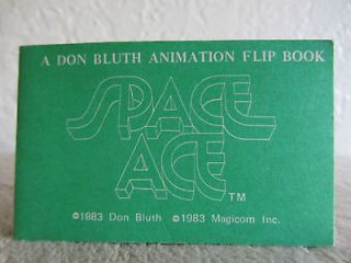 DON BLUTH SPACE ACE Green Animation Flip Book Original Vintage 1983