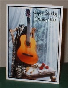 Guitar on Chair Personalised Birthday Greeting Card G3