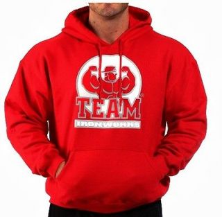 BODYBUILDING CLOTHING HOODIE WORKOUT TOP RED TEAM IRONWORKS LOGO
