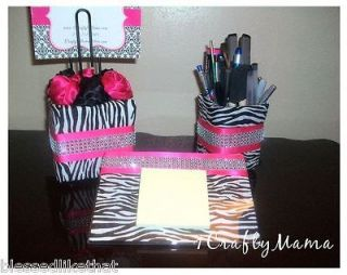 Zebra Hot Pink Bling Diva Glam Collection. 3pc Set Desk/Office