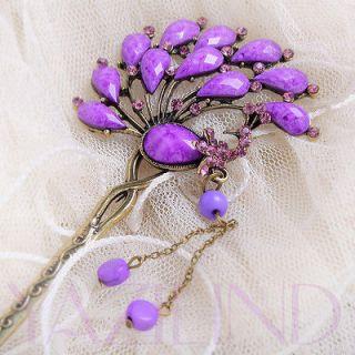 peacock purple resin crystal bronze bookmark hair pin stick ornament