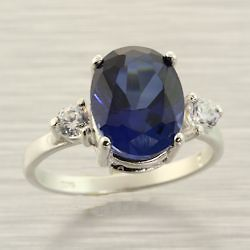 Blue Sapphire Lab Created 10x8mm Oval Accented Sterling .925 Ring