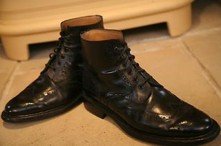 Barker Mens Made In England Black Leather Brogues Boots Shoes Size UK
