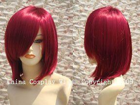 Resistant Medi um straight long bang burgundy red bob cosplay hair wig