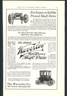 1910 Car Ad 1911 Automobile Waverley Electric Shaft Drive Splitdorf