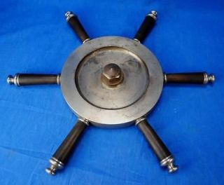 Heavy Industrial Ship Boat Steering Wheel Steel & Wood Lamp Base 21