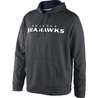 SEATTLE SEAHAWKS XXL Charcoal KO Pullover Hoody Hooded Sweatshirt