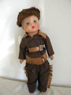ANIQUE DANIEL BOONE VINYL RUBBER SUFFED DOLL SLEEPY EYES PAINED