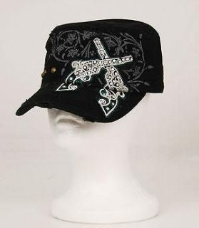 WESTERN COWGIRL BLACK BLING RHINESTONE GUN PISTOL SIX SHOOTER CAP HAT