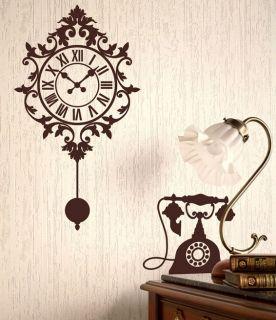 ] ANTIQUE CLOCK , TELEPHONE & CAT   DIY WALL STICKER