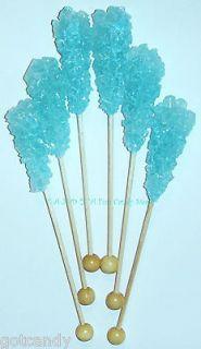 LIGHT BLUE ROCK CANDY SWIZZLE STICKS   Cotton Candy Flavored Lollipops