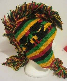 Hand knitted wool Bob Marley Mohawk Hat Beanie ear flap fleece lined
