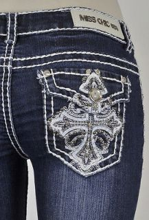Miss Chic Bootcut Jeans White Stitching And Cross Studs Design SZ 1 15