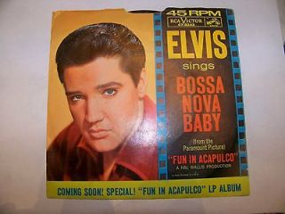 Elvis Presley Bossa Nova Baby Picture Sleeve 45 RPM RCA VICTOR 47 8243