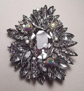 LARGE VINTAGE STYLE CLEAR AB BLING PIN BROOCH BRIDAL WEDDING BOUQUET