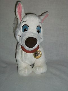 Disney Tote a Tail Superhero BOLT White Dog Brown Collar Stuffed